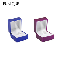 FUNIQUE Hot Square Jewelry Earring Ring Case Box With LED Light Jewelry Display Black Rubber Paint Ring Storage Box 1PC