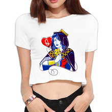 DUTRODU Queen Of Hearts Summer custom popular O-neck 100% cotton ladies Navy crop for holiday Girls cropped off(China)