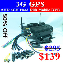 Mobile DVR hard disk SD card double support  AHD 4 way GPS monitor host  3G car video recorder