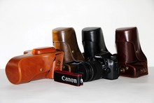 Factory Sell New PU Leather Camera Bag Case + Strap For Canon EOS 70D 60D 80D Protection Skin Cover Black Coffee  Green Brown