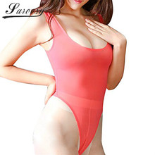 2017 Multicolor Sheer Open Crotch High Cut Bodysuit Leotard for Women One Piece Sleeveless Thong Sexy Lingerie for Women