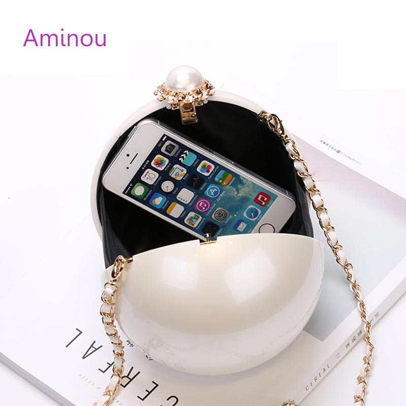 Women Pearl Evening Bag Mini Party Wedding Clutch Purses Pearl Acrylic Handbags Round Shaped Bag Shoulder Bolso Fiesta Noche<br><br>Aliexpress