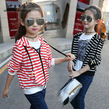 Spring/Autumn Cotton Jackets Girls 5-14Years Old Children Fashion Striped Coats Outdoor Kid's Sport Jersey Nice Girl's Hoodied