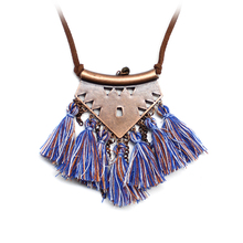 Ethnic Retro Tassel Multi Color Long Pendant Necklace National Style Handmade Bohemian Clothing Accessories Statement Necklaces(China)