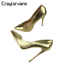 Craylorvans 2018 Spring Women Shoes NEW Fashion Snake Leather Wedding Shoes Sexy Pointed Toe Pumps Gold High Heels Party Shoes(China)