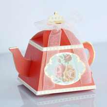 Wedding Gift Box Red Luxury Large Teapot Wedding Box for Candy Chinese Wedding Favor Boxes of Chocolates Paper Rose Flower Box(China)