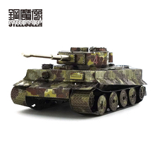 3D Color Tiger Tank Metal Assembly Model Vehicle Puzzle DIY Puzzles Birthday Gifts Stainless Steel Models 7.3*4.5*3CM(China)