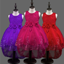 5 colors 2017 Top quality princess dress for little girl long dresses Sequins Ceremonies wedding gown dress flower girl vestido