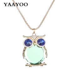 YAAYOO Jewelry 18 Colors Newest Fashion Women Long Owl Pendant Yellow/White Color Glass/Crystal Necklaces Pendants For Women