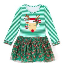 2017 new European station girl cartoon reindeer Christmas dress striped princess yarn baby girls dress