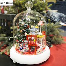 Glass Cover Dollhouse Kit Christmas Decor Gift DIY Doll House Furniture Handmade Puzzle Toy Miniature Music Box Craft Model(China)