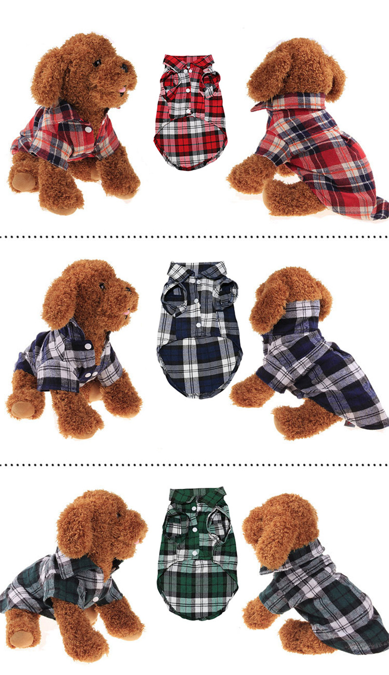 Pet Puppy Dog Clothes Summer Plaid Dog Shirt Coats Jackets Cat Grid Costumes for Small Medium Dogs Yorkies Chihuahua Clothes4