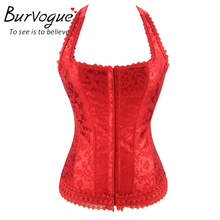 Burvogue hot shaper woman corset black red lace bustier tops with straps corselet fashion halter neck overbust corset lace(China)