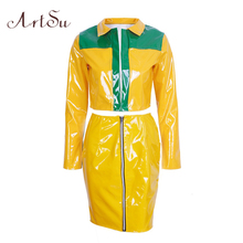 ArtSu Winter Autumn PU Leather Two piece Set Women Yellow Slim Bodycon Long Sleeve Jacket Mini Sets Casual Suit ASSU30091(China)