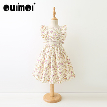 2017 Original Flower Print Ruffles Dresses Girls Backless Boutique Princess Tank Dress Fashion Summer Costume Wholesale(China)
