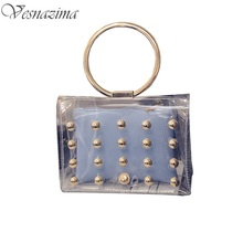 summer tote pvc sea bag fashionable beach bags transparent rivets lady mini bags women handbags small composite bag pink WM162YL(China)