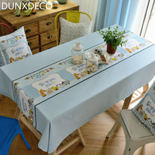 DUNXDECO Modern Fresh Cartoon Animals French Style Little Blue Table Cloth Chic Home Table Kitchen Decoration Photo Prop Gift