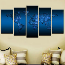 5 Pcs/Set Framed HD Printed Deep Blue World Map Modern Home Wall Decor Poster Canvas Art Painting Wall Pictures