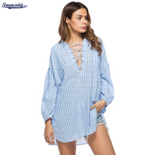 K Swarlooke 2017 New Arrival Women Fashion Casual Bandage V-Neck Long Sleeved Striped Shirt Collar Strap Mini Dress(China)