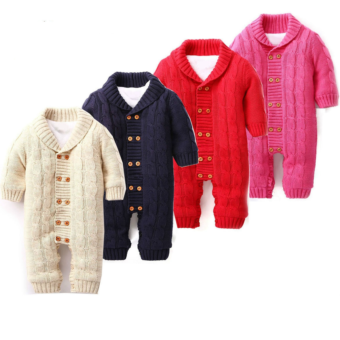Thick Cotton Warm Infant Baby Rompers Winter Clothes Newborn Baby Boy Girl Knitted Sweater Jumpsuit Hooded Kid Toddler Outerwear<br>