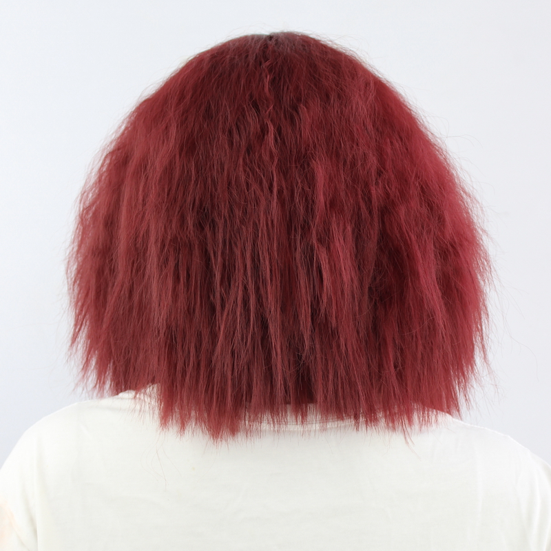 Fluffy Red Pink White Orange Green Blonde Brown Curly Wig Synthetic