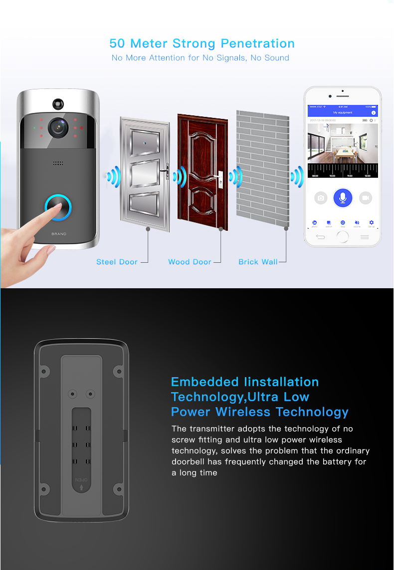 05 Wireless Doorbell Ring Chime Door Bell Video Camera WiFi IP 720P Waterproof IR Night Vision Two Way Audio