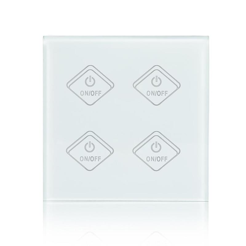 UK Standard 4 Gang Wall Light Sensor Switch Wireless Smart Touch Switch Waterproof Tempered Crystal Glass Panel AC 90-250V<br>