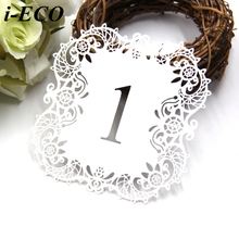 10PCS White Wedding Table Number Table Cards Hollow Laser Cut Card Numbers Vintage Wedding Party Decoration Event Party Supplies(China)