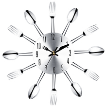 Brief Modern Large Wall Clock Stainless Steel Kitchen Wall Watch Magic Spoon Fork Quartz Needle 3D Clock Living Room Home Decor(China)