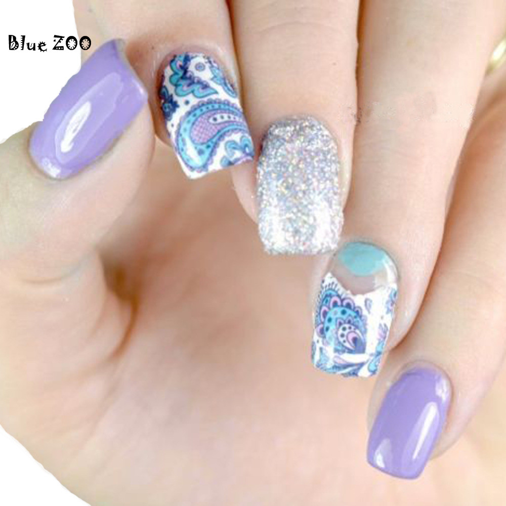 Blue ZOO 2pcs New Pro Nail Art Stickers Water Transfer Blue Flower Decals Tips 3D Deco(China)