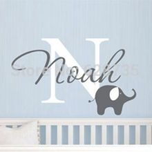 Elephant with boys name wall decal - Custom Boys Name Vinyl Wall Sticker - Baby Nursery Wall Decal Elephant ,free shipping