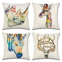 45cm*45cm The head of Giraffe Zebra Deer linen pillow covers sofa pillow case car seat cushion cover decorative pillows(China)
