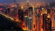 Beautiful scenery Hong Kong city lights night 4 Sizes Home Decoration Canvas Poster Print