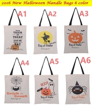 100pcs DHL 2016 New Halloween Bag with Black Handle 6 color for Women Girl Pumpkin Shopping Tote Bags Festival Gifts Bag 36X48CM