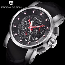 Top Luxury Brand Men quartz watch PAGANI DESIGN china Dragon Calendar Silicone Strap Multifunction Chronograph Waterproof Watch(China)