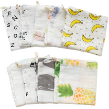 Baby Towel 31*28 cm 4 Layers Cotton Bamboo Material Children's Towels Soft Cartoon Towel Baby Bath Towel For Newborns 5 Pcs/Set