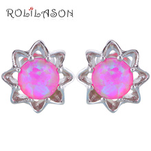 ROLILASON Star Design Fantastic Pink Fire Opal 925 Silver Stamped Stud Earrings for Girlfriend Fashion Jewelry OES620(China)