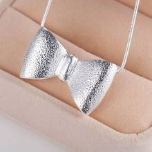 2016 Loving Gift ! Silver Cute Necklace Bowknot  Pendant Jewelry For Women AN119