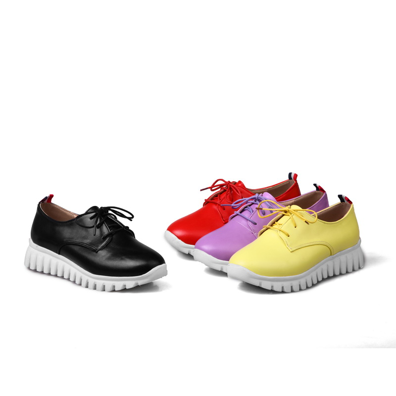 Hot Sale Plus big and small size 29-46  Womens  Round Toe Patent Leather Spring Autumn Shoes  Lace up Casual shoes 8086<br>