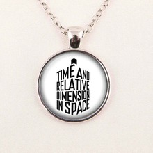 Steampunk UK Drama doctor who time words Necklace 1pcs/lot bronze silver Glass Pendant jewelry Chain iron man women
