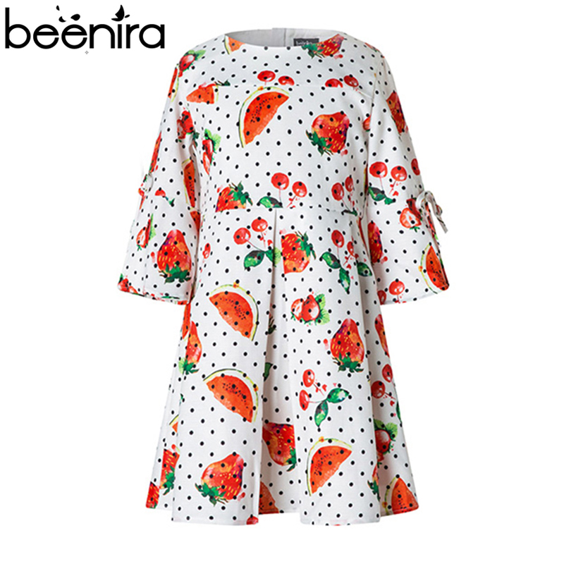 BEENIRA Summer Girls Dresses Baby Strawberry Print Flare Sleeve Princess Costume Child Dots Clothing For 4y-14y High Quality<br>