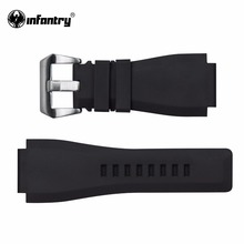Infantry 24mm Rubber Watch Straps with High Quality Brushed Silver Buckle Soft Durable Wristwatch Band Accessories New Arrival(China)