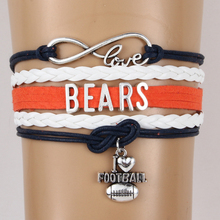 (10PCS/LOT) Infinity Love Chicago State Bears NFL Football Team Bracelet Customize Sport friendship bracelets best gift for fans
