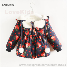 LAKAKST New Arrival Winter Girls Coats and Jackets Strawberry for Sweet Girl Children Pabbed Outer Wear Lovely Baby Warm Clothes
