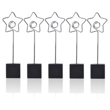 5 Pcs Cube Base Memo Clips Holder with Star Shaped Clip Clasp for Displaying Photos Number Cards(China)