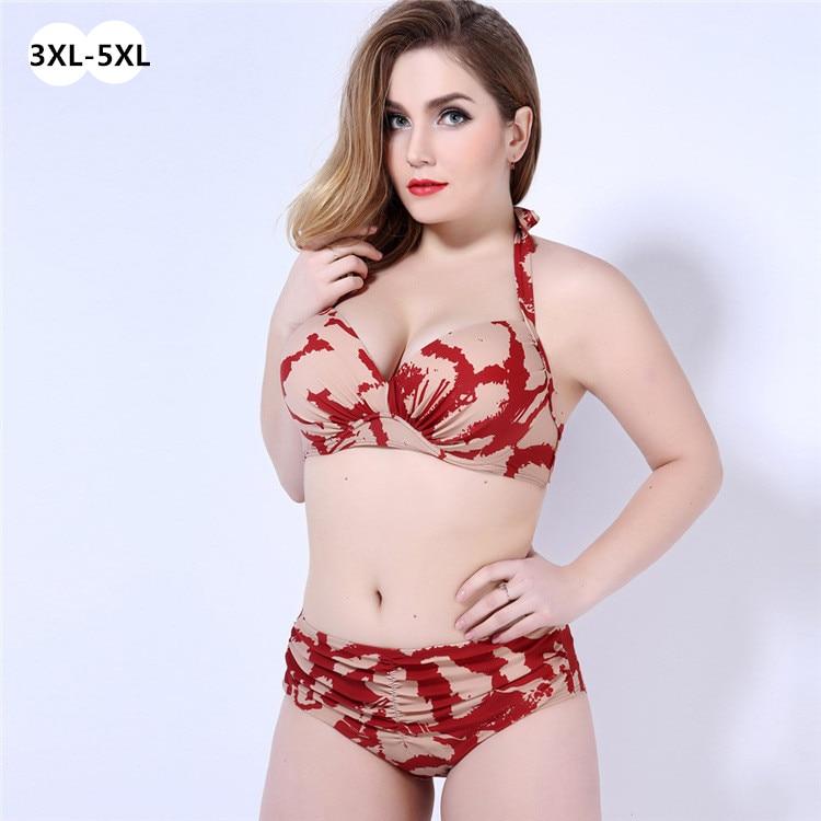overweight lady extra big size 3xl-5xl high waist women fat bikini push up padded bathing suit swimwear high swimsuit biquini<br><br>Aliexpress