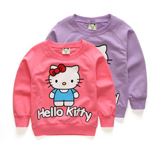 Girls Hoodie Children Shirts Baby Girl Long Sleeve Hello Kitty Cartoon Design Girls Sweaters Cotton Clothes Kids