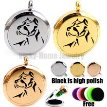 silver round dog design 30mm stainless steel essential oil diffuser necklace jewellery aromatherapy men and women perfume