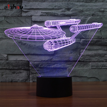Star Trek Enterprise lamp toy 3D Led table lamp flash toy   7 color visual illusion LED lights party atmosphere