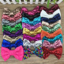 Wholesale 25pcs/lot 5inch Large Messy Sequin Hairbow Clip,Embroidered Sequin Bows With Clip for Kids Hair Accessories(China)